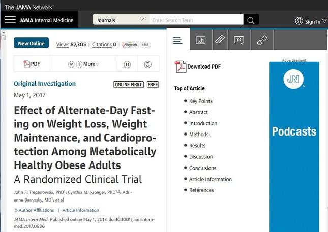「1日おき断食」の実験報告結果が掲載された「JAMA Internal Medicine」