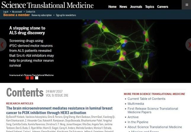 京大グループのALS治療薬候補発見の論文を掲載したScience Translational Medicineのウェブサイト