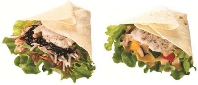 「たっぷり野菜のチキンラップ ごぼう&ひじき」(左)と「たっぷり野菜のチキンラップ チェダー&ハニーメイプル」