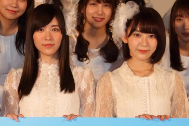 SKE48の松井珠理奈さん(左)とHKT48の宮脇咲良さん(右)は対照的な目標を掲げた