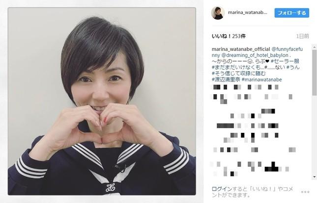 渡辺満里奈さんがセーラー服姿を披露(画像は渡辺さんのインスタグラムより)