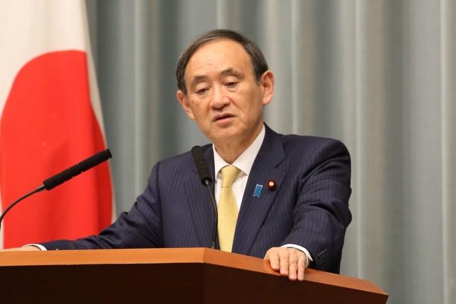 菅義偉官房長官は記者会見で、眞子さま婚約と皇族減少について問われた(写真は2017年1月J-CASTニュース編集部撮影)
