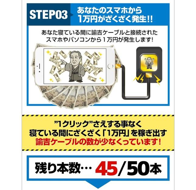 「諭吉ケーブルと接続されたスマホやパソコンから1万円が発生します!」