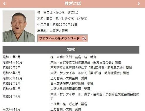 米朝事務所ウェブサイトに掲載されている、桂ざこばさんのプロフィール