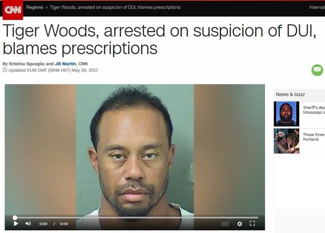 タイガー・ウッズの逮捕が報じられた(画像は米CNNサイトから。編集部で一部加工)