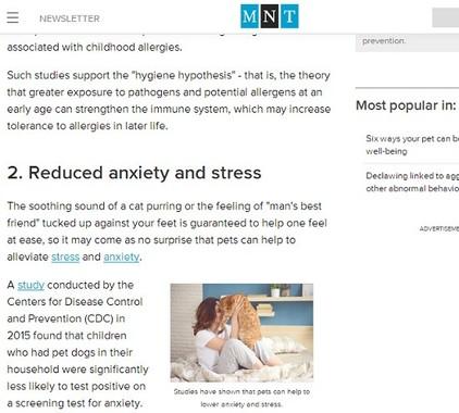 「ペットが行う心身の健康高め方」を特集したMTNの記事