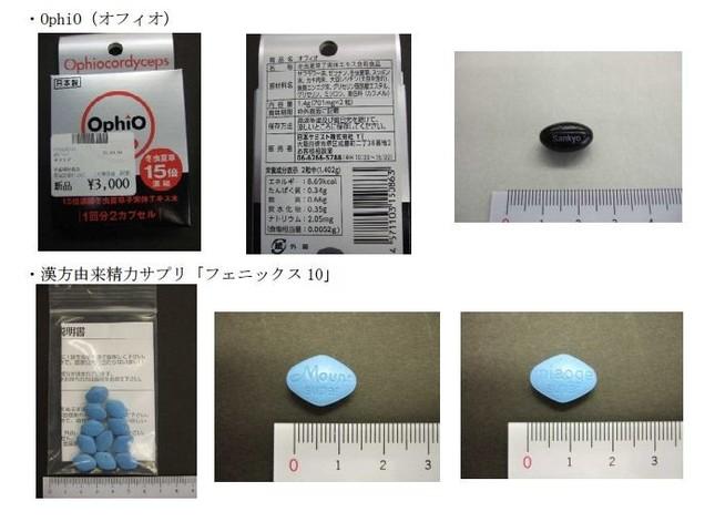 効能効果を謳った健康食品は購入しないこと(画像は千葉県で確認された違法商品)