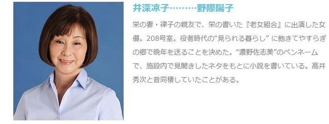 野際陽子さん(画像は現在出演中のテレビ朝日系ドラマ「やすらぎの郷」公式HPより)