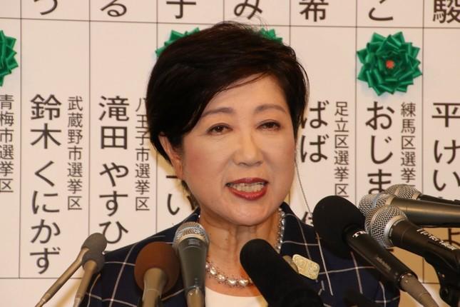 記者会見する「都民ファーストの会」小池百合子代表(東京都知事)