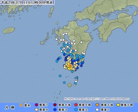 九州南部で最大震度5強を観測した(画像は気象庁ウェブサイトから)