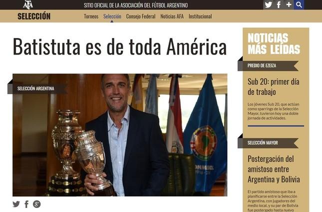 サッカーへの情熱は今も変わらないという(画像は2017年3月に南米サッカー連盟から偉大な選手に選出されたことを伝えるアルゼンチンサッカー協会のニュース)