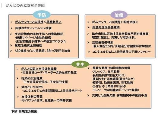 伊藤忠商事の「がんとの両立支援全体図」(同社の発表資料より)