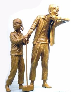 設置されるブロンズ製の「徴用工像」のイメージ(写真は「日本植民地時代徴用労働者像仁川建設推進委員会」のフェイスブックから)
