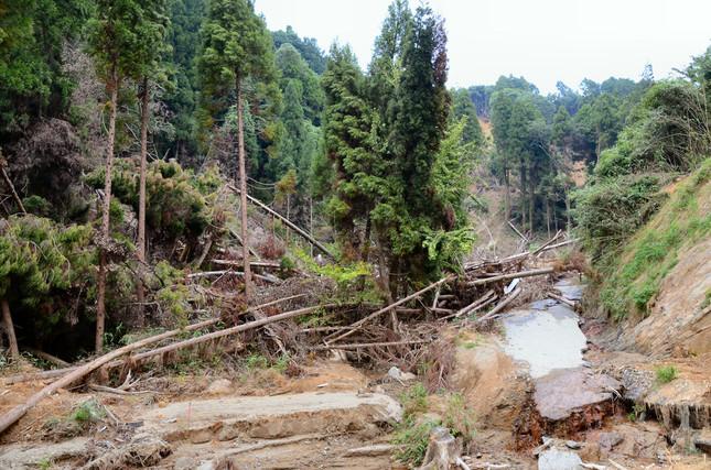黒川地区ではこのような土砂災害の跡が数多く見られた