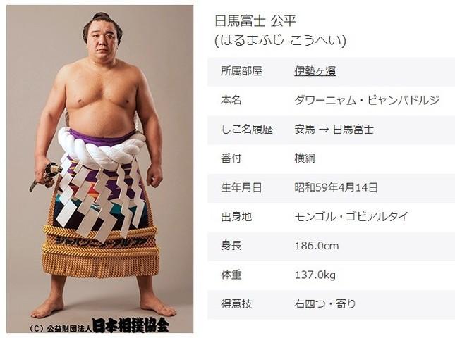 日馬富士(日本相撲協会公式サイトより)