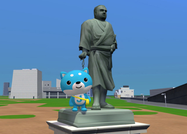 上野の西郷隆盛像も再現(ココア提供)