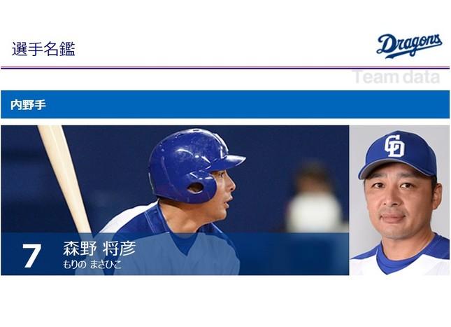 引退を表明した森野将彦選手(画像は中日ドラゴンズ公式サイトより)