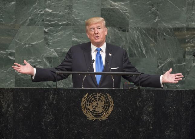 米国のトランプ大統領は国連総会で「北朝鮮を完全に破壊」する可能性に言及した(UN Photo/Cia Pak)