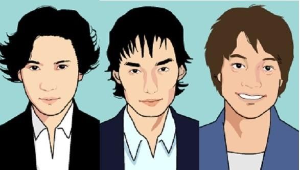 元SMAPの(左から)稲垣吾郎さん、草なぎ剛さん、香取慎吾さん