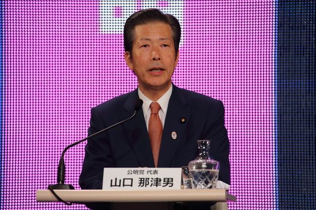 公明党の山口那津男代表は小池氏の「二足のわらじ」に警戒感を示している(2014年11月撮影)