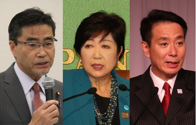 (左から)「希望の党」の若狭勝氏、小池百合子代表、民進党の前原誠司代表