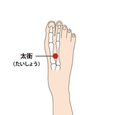 足の甲、第一指と第二指の間が交わるくぼみ
