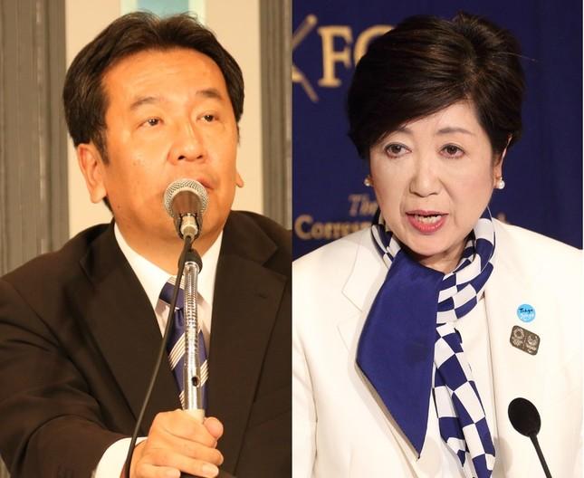 小池百合子・希望の党代表(右)と枝野幸男・立憲民主党代表