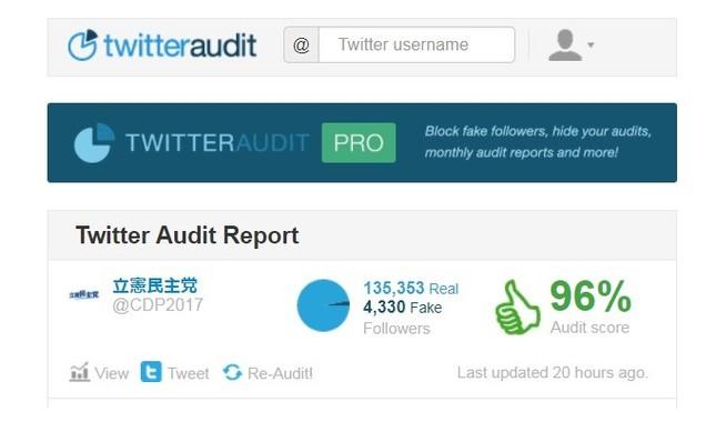 立憲民主党アカウントが紹介した「Twitter Audit」の検証結果ページ