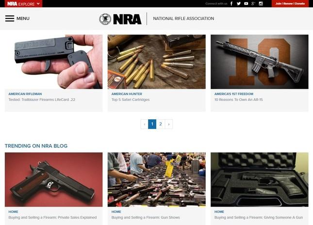 全米ライフル協会(NRA)のホームページから
