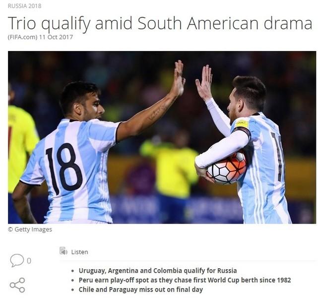 FIFAの公式サイトから(画像は、スクリーンショット)