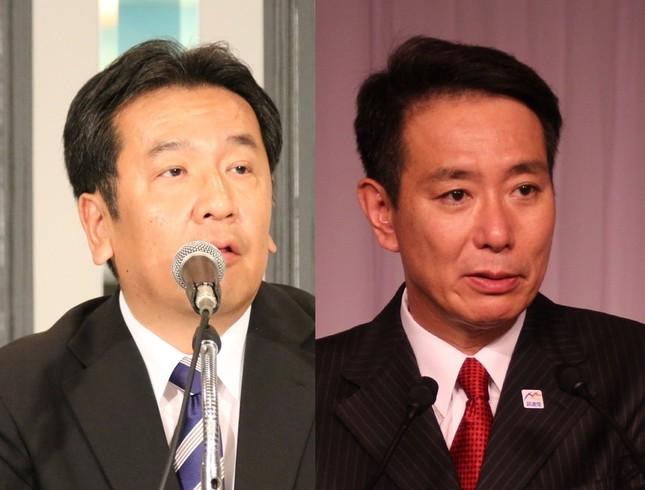 枝野幸男氏(左)と前原誠司氏