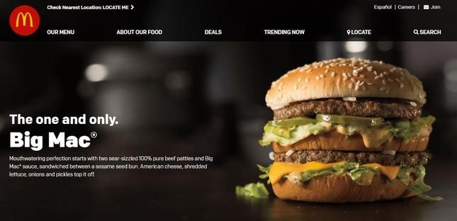 米マクドナルドの公式ホームページより。ビッグマックはパテの下にチーズを挟んでいる
