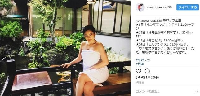 平野ノラさんが披露した銭湯写真(画像は公式インスタグラムのスクリーンショット)