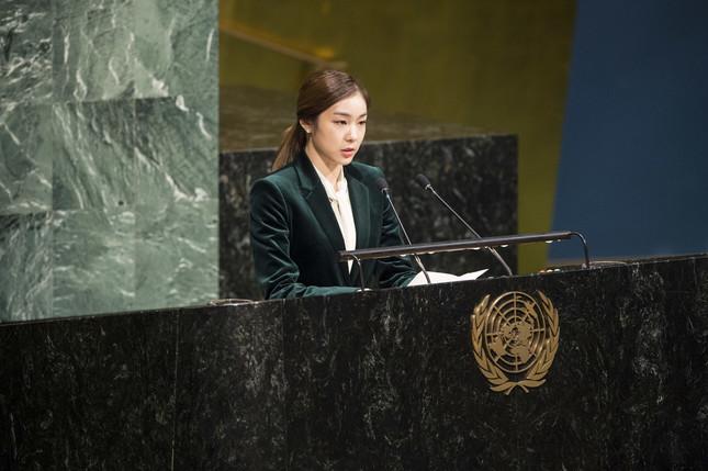 国連総会で演説するキム・ヨナさん(UN Photo/Kim Haughton)