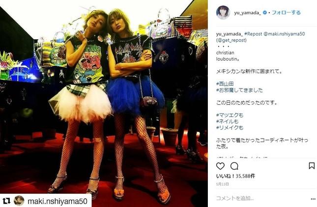 モデルの西山茉希さんとのツーショット(写真はインスタグラムより)