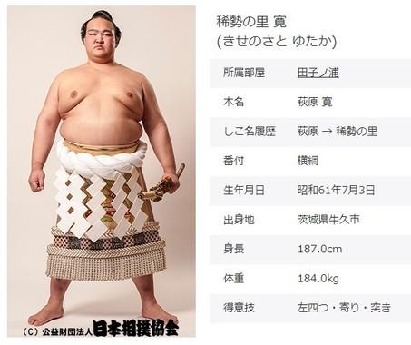 横綱・稀勢の里(画像は日本相撲協会公式サイトから)