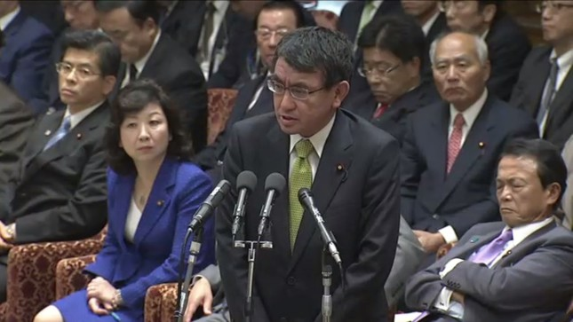 11月28日の衆院予算委で答弁に立つ河野太郎外相(画像は衆議院インターネット審議中継から)