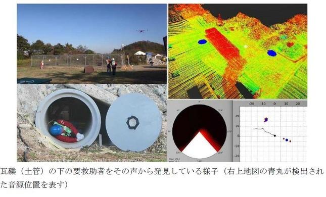 土管の中の被災者を探し出すドローンの仕組み(東京工業大などの発表資料より)