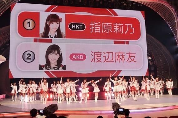 2016年の紅白では出場メンバーを投票で選んだ。画面はリハーサル用のダミーで、本番では山本彩さんが1位になった