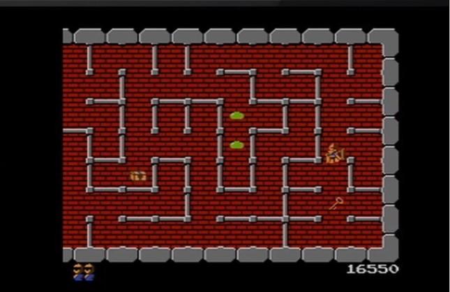 これが原作の「ドルアーガの塔」のプレイ画面(画像は任天堂公式YouTubeチャンネルの「ドルアーガの塔 プレイ映像」のスクリーンショット)