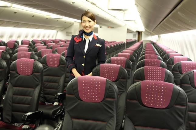 こちらが現行のJALの国内線の座席。普通席でも本革を使っているのが売りだ