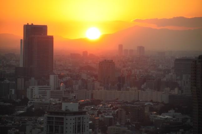 大展望台からの東京の街並みと沈む夕日(J-CASTニュース撮影)