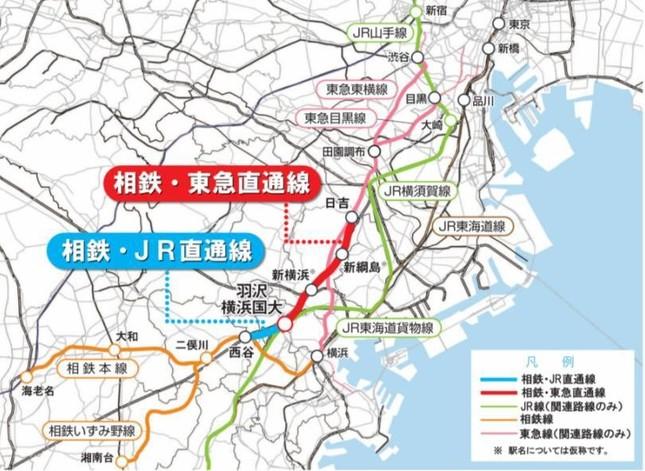 相鉄は2019年度下期から22年度下期にかけてJRや東急に乗り入れる(相鉄のプレスリリースから)