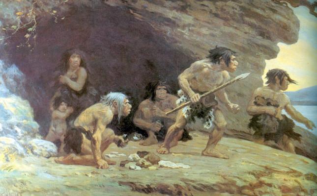 1920年に描かれたネアンデルタール人の想像図