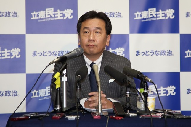 初めての定例会見に臨んだ立憲民主党の枝野幸男代表