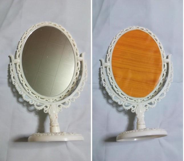 収斂させた自宅の両面鏡。現在は拡大鏡(凹面鏡)の面をリメイクシートで覆っている(ツイッターユーザーから写真提供)