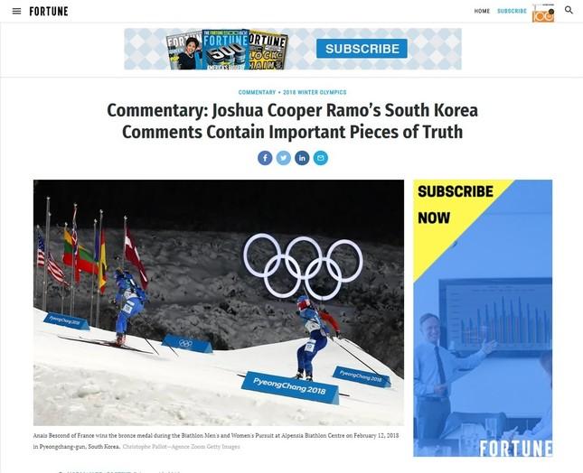 フォーチュン誌のウェブサイトに掲載されたコラム。掲載から1週間も経って韓国メディアが取り上げた