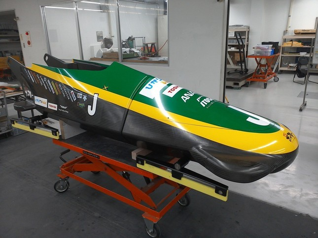 下町ボブスレーの「新10号機」。ステッカーなどがジャマイカ・チーム仕様となっている(写真提供:下町ボブスレーネットワークプロジェクト)