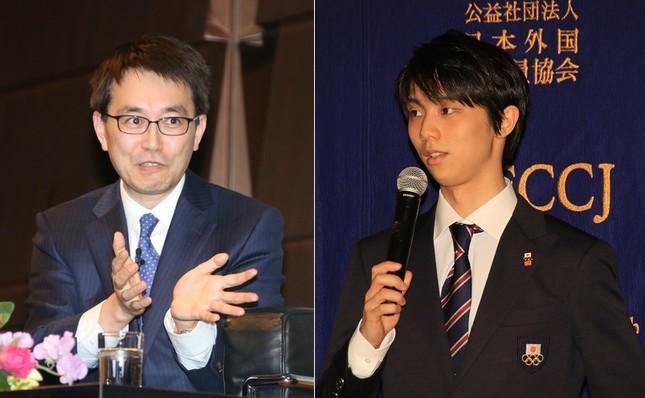 将棋の羽生善治竜王(左)とフィギュアスケートの羽生結弦選手(右)