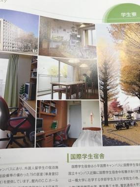 「一橋大学案内 2018」の学生寮紹介ページ。本棚の部分をよく見ると…(提供写真)